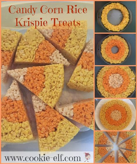 Candy Corn Halloween Rice Krispie Treat recipe with The Cookie Elf Candy Corn Halloween Rice Krispie Treat recipe: ingredients, directions, and special baking tips from The Elf to make this Halloween variation of traditional homemade Rice Krispie Treats. Halloween Desserts, Buffet Halloween, Hallowen Food, Halloween Party Snacks, Fete Halloween, Halloween Goodies, Halloween Cupcakes, Halloween Birthday, Holidays Halloween