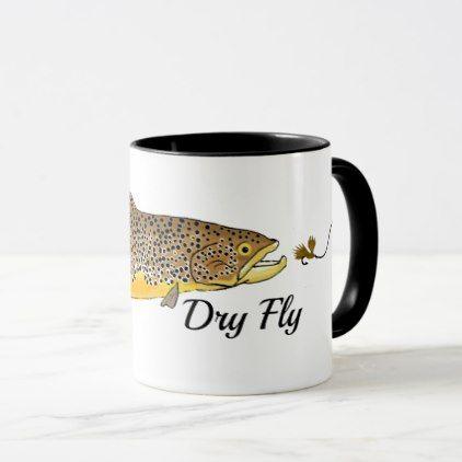 FLY FISHING MUG trout flies Gift for salmon fisherman fishermen