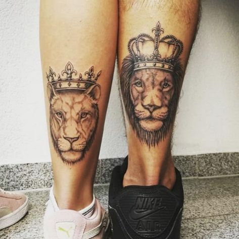 Lion tattoo, Matching couple tattoo, love tattoo for couple, small tattoo design ideas, meaning tattoo for couples, soul mate tattoo for couple, #tattoo #CoupleTattoo #MatchingTattoo #LoveTattoo