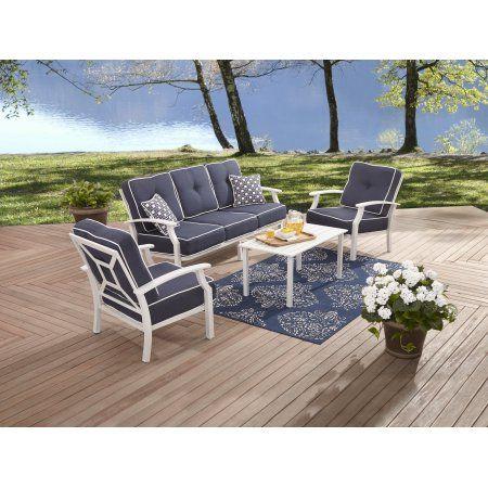 Better Homes Garden Carter Hills Outdoor Conversation Set Seats 5 With White Cushions Walmart Com Patio Furniture Conversation Sets Conversation Set Patio Better Homes And Garden