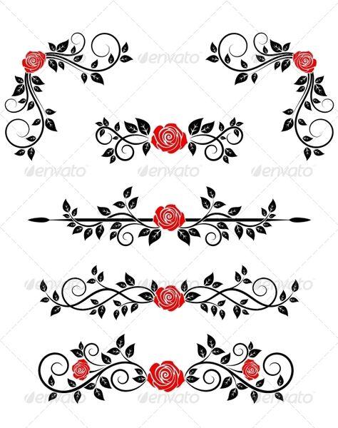 Roses with Floral Embellishments - Decorative Symbols Decorative