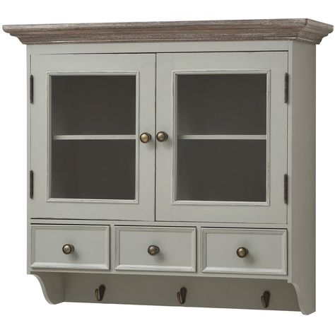Antique French Grey Shabby Chic Wall Bathroom Kitchen Cabinet Cupboard H14665