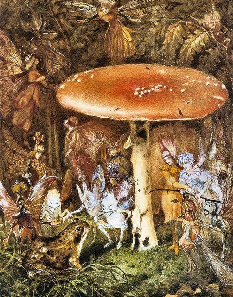 The Orange Fairy Book by Andrew Lang, Fiction, Fairy Tales, Folk Tales, Legends & Mythology Fantasy Kunst, Fantasy Art, Richard Dadd, Fairy Paintings, Mushroom Art, Gum Arabic, Vintage Fairies, Fairytale Art, Hieronymus Bosch