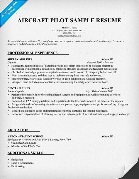 Aircraft #Pilot Resume (Http://Resumecompanion.Com) | Resume