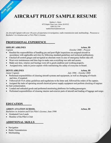 Aircraft Pilot Resume HttpResumecompanionCom  Resume