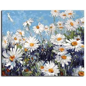 Cornflowers Flowers Canvas Art Picture Acrylic Oil DIY Paint Set by Numbers Kits