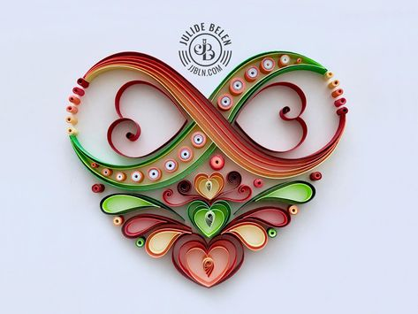 Custom Infinity Heart Quilling Paper Art designed by J J B L N. Connect with them on Dribbble Neli Quilling, Paper Quilling Flowers, Paper Quilling Patterns, Origami And Quilling, Quilled Paper Art, Quilling Paper Craft, Paper Crafts, Quilled Roses, Quilling Comb