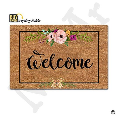 MsMr Door Mat Entrance Mat Flowers Patten Nonslip