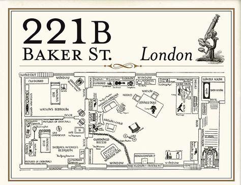 221B Baker Street layout \ floor plans Home of Sherlock Holmes - new blueprint coffee watson