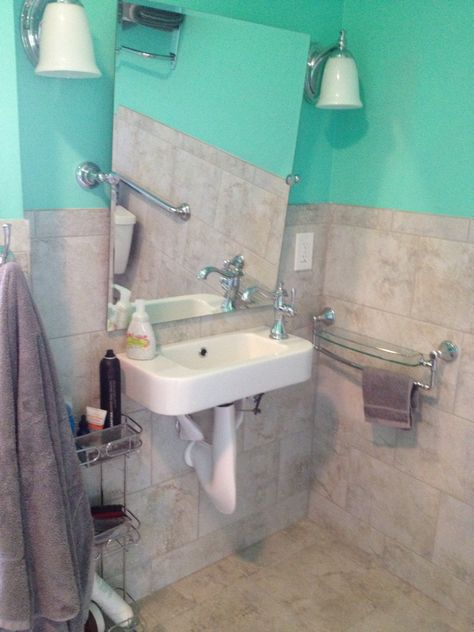 Tilting mirror, wall mounted sink, lowered wall mounted shelf make using easier from seated position