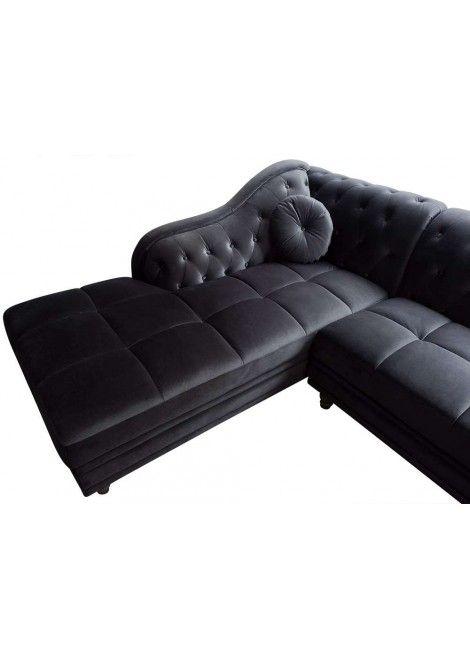 Canapé d\'angle Isium Velours Noir style Chesterfield | Canapé d ...
