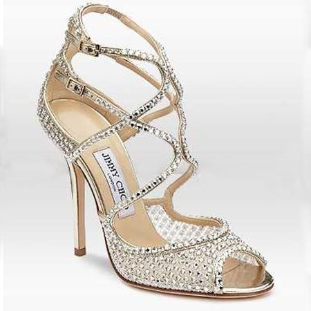 Jimmychoo Jimmy Choo Ivory Crystal Mesh Gold Sandal Bride Bridal Wedding Shoes Silver Desig