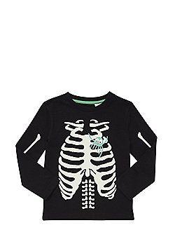 7dc40b92 F&F Halloween Glow In The Dark Skeleton Print Long Sleeve T-Shirt - Black