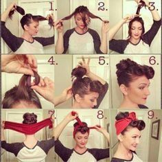 50s Hairstyles With Bandana Tutorial Foto Video Rockabilly Hair Hair Tutorial Hair Styles