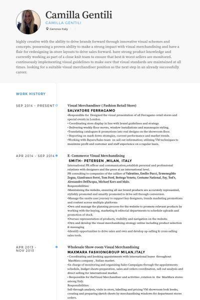 Visual Merchandiser Fashion Retail Store Resume Example Retail Resume Examples Resume Examples Visual Merchandising
