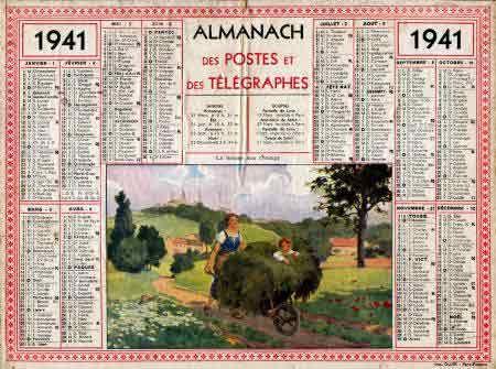 Calendrier 1941.Almanach Des Postes Et Des Telegraphes De 1941 Calendriers
