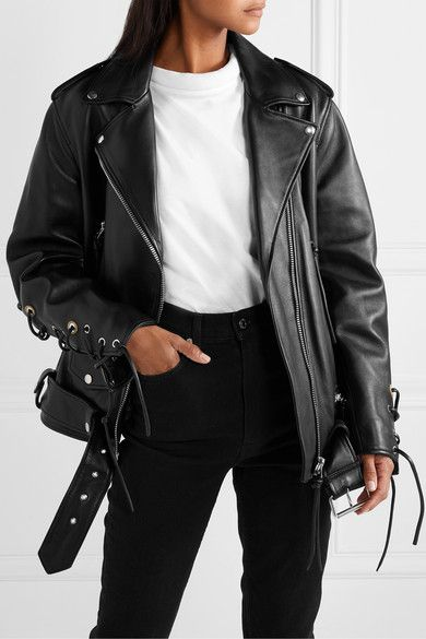 Acne Studios Lastrid Oversized Lace Up Leather Biker Jacket Net A Porter Com Leather Jacket Outfits Leather Jackets Women Jacket Outfits