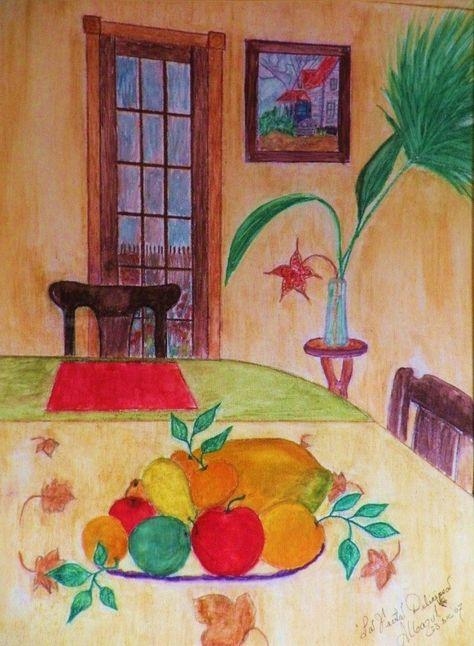 """22-The Delicious Fruit-La Fruta Deliciosa, Original Watercolor, Archival Fredix Canvas, """"16 x 12"""", Unframed. Albazul.  NFS"""