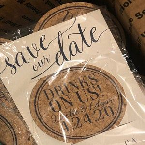 Mint Green Save The Date Cork Coaster