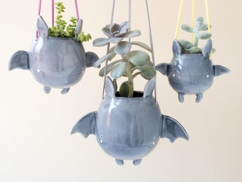 This Ceramic Flying Bat Succulent Holder Is The Cutest Way To Decorate For Halloween