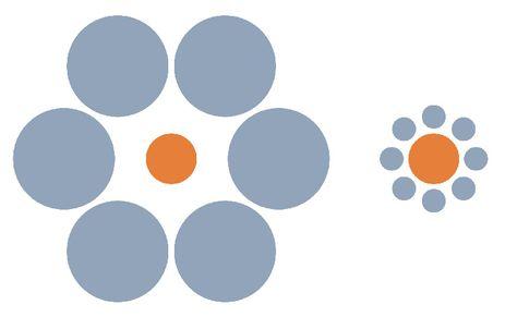 Los dos círculos centrales, a diferencia de lo que nos dice nuestra percepción, son idénticos.