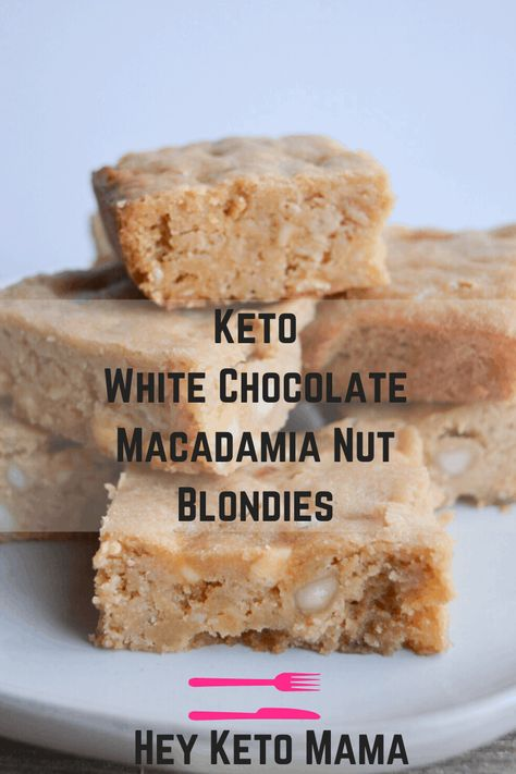 These mouthwateringly delicious Keto White Chocolate Macadamia Nut Blondies are a decadent treat that you won't even believe are low carb! Macadamia Nut Recipes, Macadamia Nut Cookies, White Chocolate Blondies, White Chocolate Macadamia, White Chocolate Chips, Keto Cookies, Chip Cookies, Low Carb Sweets, Low Carb Desserts