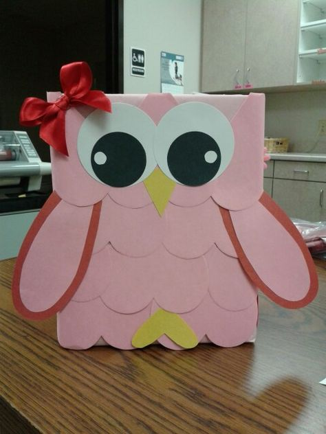 Valentine box I made. Owl #1