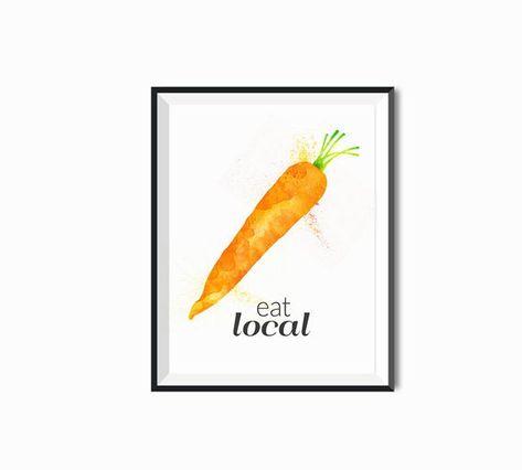 Fresh Eats Market >> Carrot Watercolor Kitchen Art Eat Fresh Eat Local Eat