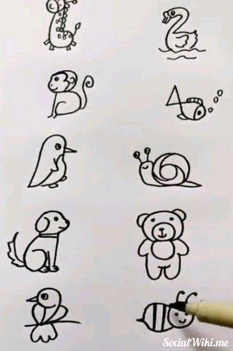 Amazing Easy Drawings! 🦒🦢🐻🐒🐦 - #Amazing #Drawings #Easy
