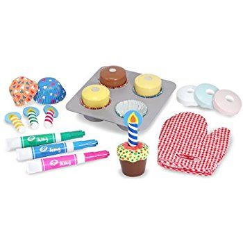 Amazon Com Melissa Doug Bake And Decorate Wooden Cupcake Play