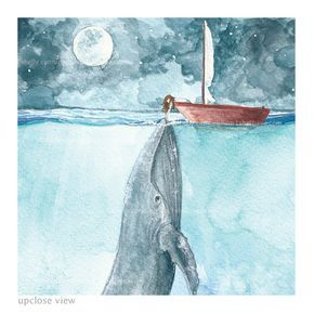 Heart Of The Sea Watercolor Painting Whale And Girl Watercolor