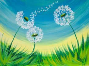 16 EASY Acrylic paintings you can do with cotton Swabs. Q-tip cotton Swab Dandel...