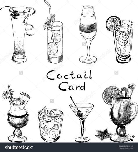 Стоковая векторная графика «Set Handdrawn Sketches Cocktails» (без лицензионных платежей), 292131500