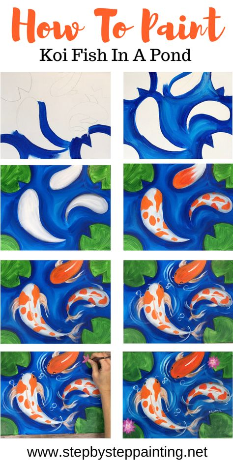 Paint a beautiful relaxing koi fish painting! This tutorial includes step by step photo directions, video and a traceable for your canvas. paintings of people Koi Fish Painting Simple Canvas Paintings, Easy Canvas Art, Small Canvas Art, Easy Canvas Painting, Mini Canvas Art, Canvas Crafts, Canvas Ideas, Koi Painting, Flamingo Painting