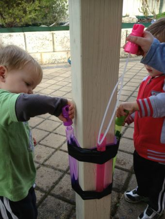 Tape your kid's bubble wand to a pole or wall for a spill-proof bubble station.   10 Mess-Free Parenting Hacks That You'll Be Forever Grateful For