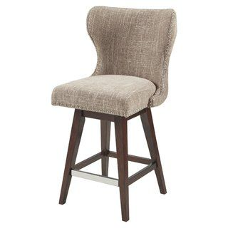 Madison Park Irvine Upholstered 27 Inch Swivel Bar Stool With