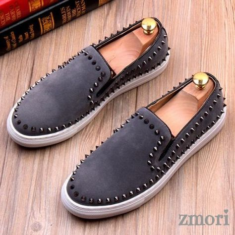 YLY Mens Punk Style Shoes Smooth PU Leather Prom Loafer Slip-on Lined Oxfords with Rivets Black Dress Shoes