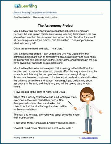 Grade 5 Children S Stories Reading Worksheets K5 Learning Reading Comprehension Reading Comprehension Questions Reading Worksheets