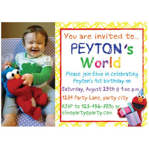 Elmos World Birthday Invitation Custom Digital By PJsPrintables 950
