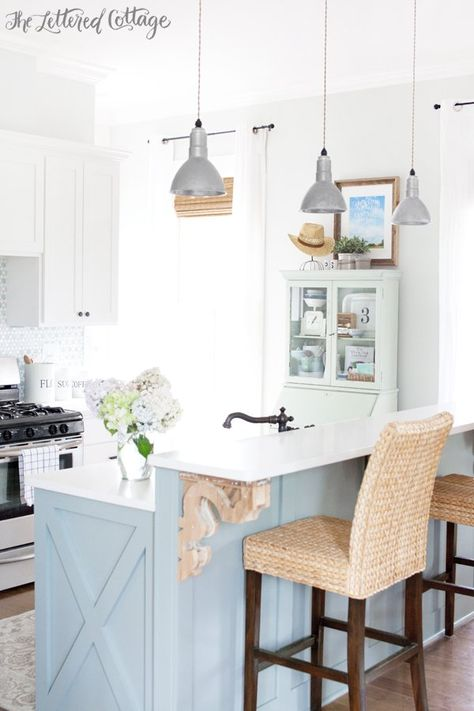 The Lettered Cottage Kitchen | Laylas Mint Milk Paint | Miss Mustard Seed | Heather Gray Island | Gray Owl Walls