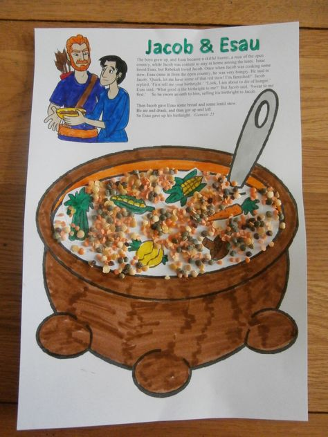 Jacob and Esau lentil stew craft -similar to our take home paper. Kids like gluing on the lentils