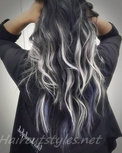 Silver Highlights On Dark Hair Curly Hair Styles Long Hair Styles Curly Hair Styles