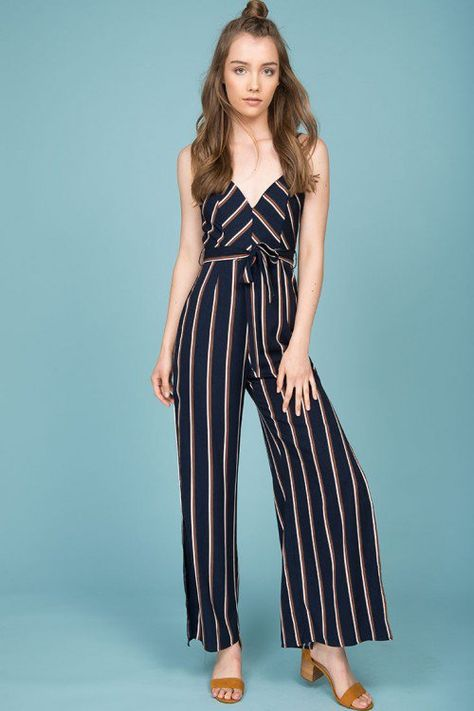 9bc8fccfb47 Kallie Striped Jumpsuit Navy
