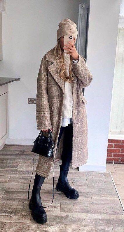 Women/'s Winter Oversize Lapel Collar Woolen Plaid Double Breasted Long Coat M