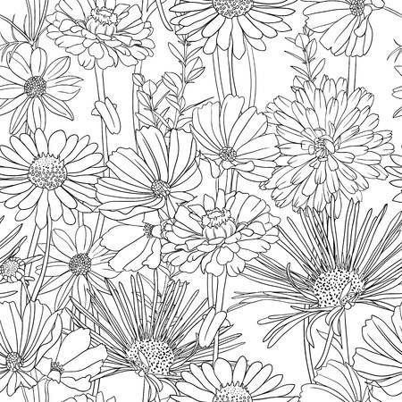 Illustration of Black and white floral seamless pattern with hand drawn flowers vector art, clipart and stock vectors. Image 11840426.