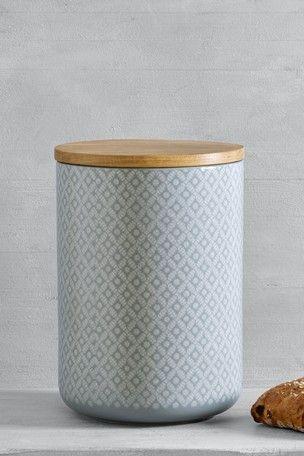 Geo Ceramic Bread Bin Jar Storage Bread Bin Printed Tea Towel