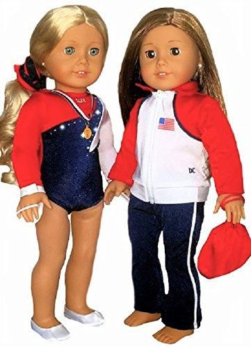 "USA Olympics Gymnastics fits 18/"" American Girl Dolls COMPLETE 6 Piece Set !"