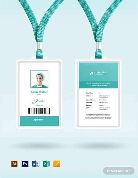 Hospital Staff Id Card Template Word Doc Psd Apple Mac Pages Illustrator Publisher Employee Id Card Id Card Template Card Template