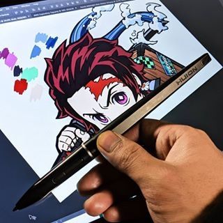 Progress On The New Tanjiro Peeking Sticker Tablet Drawing