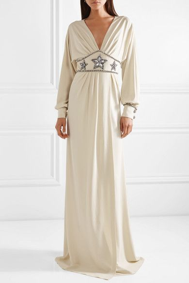 23ce04a9c Gucci | Crystal-embellished wrap-effect georgette gown | NET-A-PORTER.COM